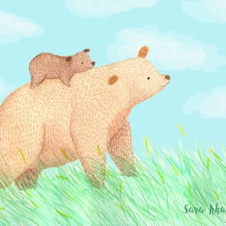 signed mum and baby bear with grass
